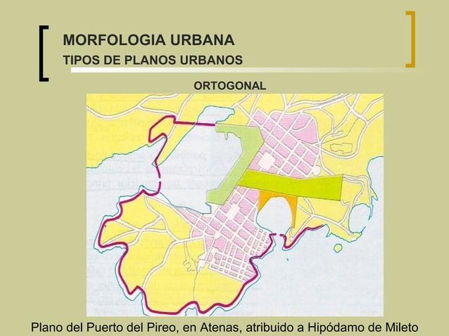 Plano del Puerto del Pireo, en Atenas, atribuido a Hipódamo de Mileto ORTOGONAL MORFOLOGIA URBANA TIPOS DE PLANOS URBANOS