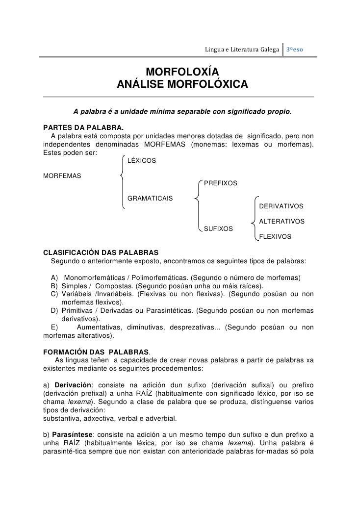 Lingua e Literatura Galega   3ºeso                          MORFOLOXÍA                      ANÁLISE MORFOLÓXICA         A ...
