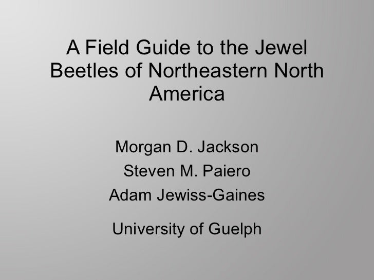 A Field Guide to the Jewel Beetles of Northeastern North America Morgan D. Jackson Steven M. Paiero Adam Jewiss-Gaines Uni...