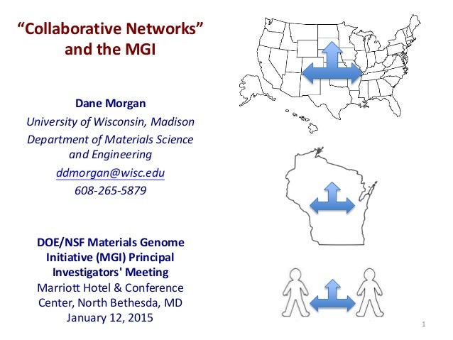 """Collaborative Networks"" and the MGI Dane Morgan University of Wisconsin, Madison Department of Materials Science and Engi..."