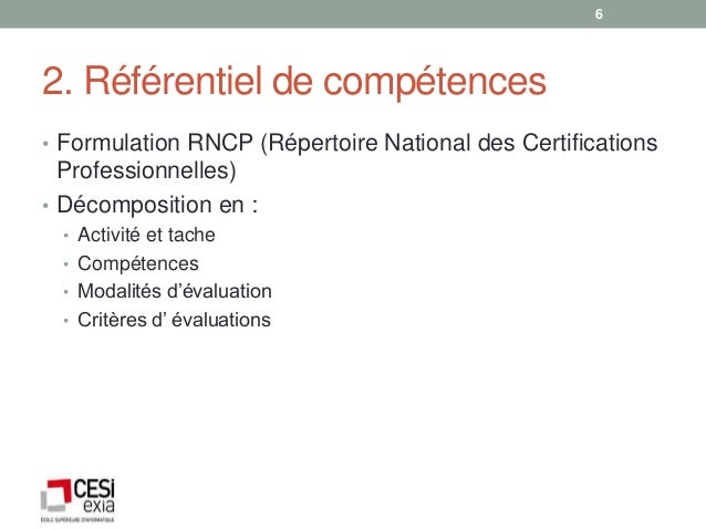 62. Référentiel de compétences• Formulation RNCP (Répertoire National des Certifications  Professionnelles)• Décomposition...