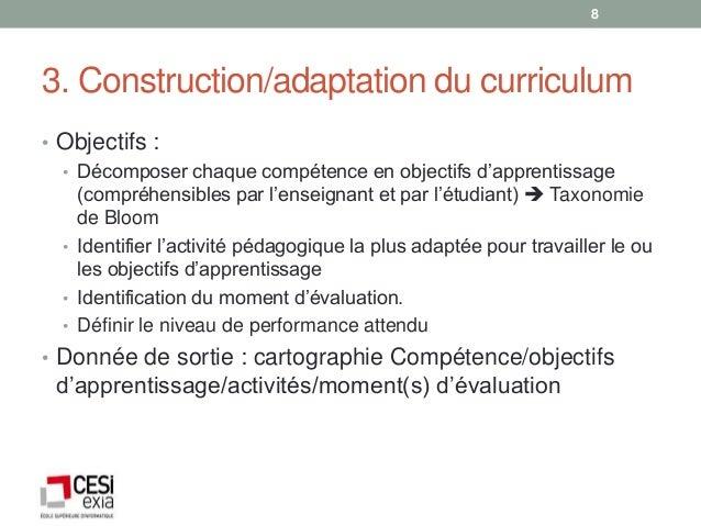 83. Construction/adaptation du curriculum• Objectifs :  • Décomposer chaque compétence en objectifs d'apprentissage    (co...