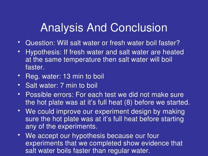 water lab conclusion Lab conclusion - this should be written like you are sample conclusion: density lab the objective of the density lab was to calculate the density of water.