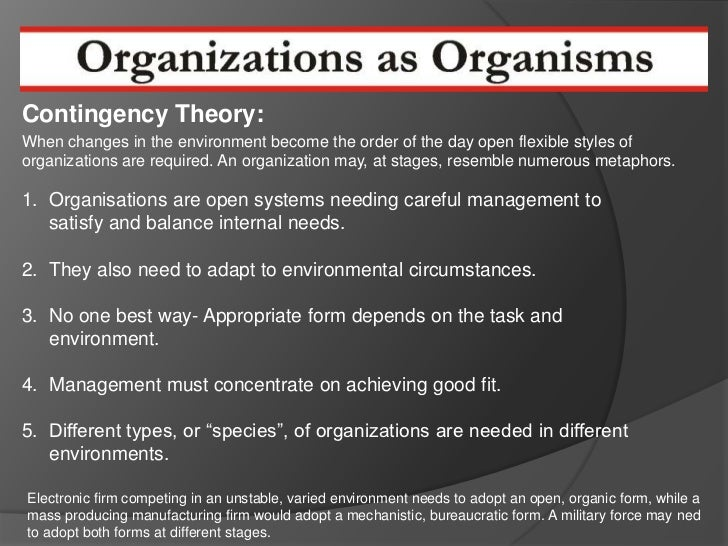 compare morgan the machine and organism metaphors Organizational metaphors: an organization is a group in a way that it can never be a machine or an organism you could substitute the metaphor of an army or.