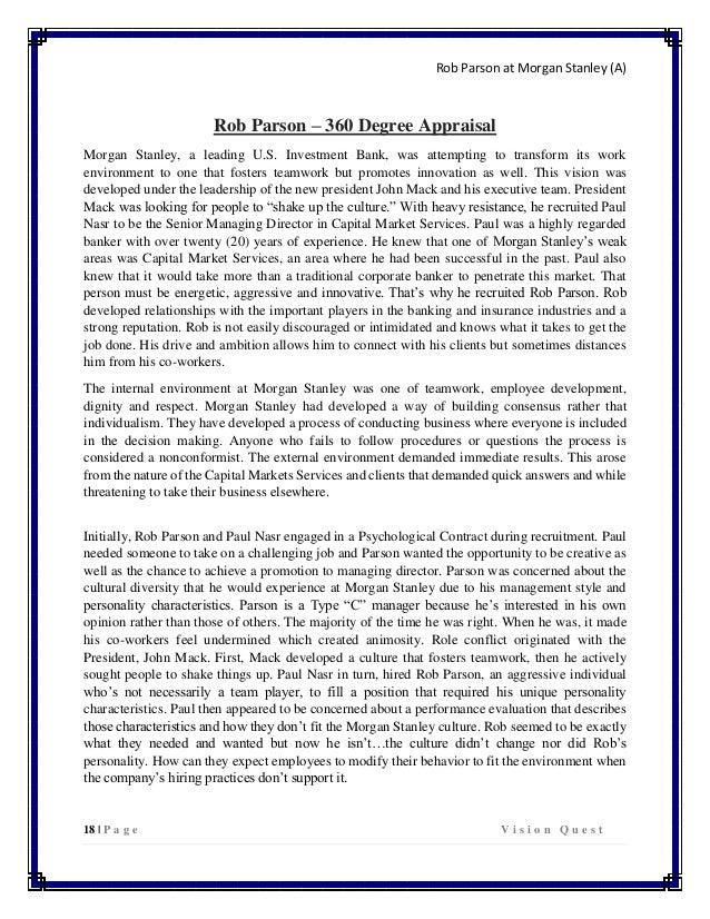 Rob Parson at Morgan Stanley Case Paper