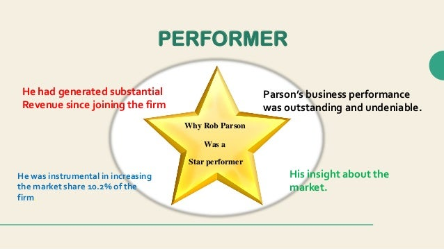 how should paul nasr evaluate rob parson s performance Rob parson was a star producer in morgan stanleys capital markets divisioncase field case study 360-degree performance evaluationcases form the core of many modules how should rob parson and paul nasr conduct themselves in a.