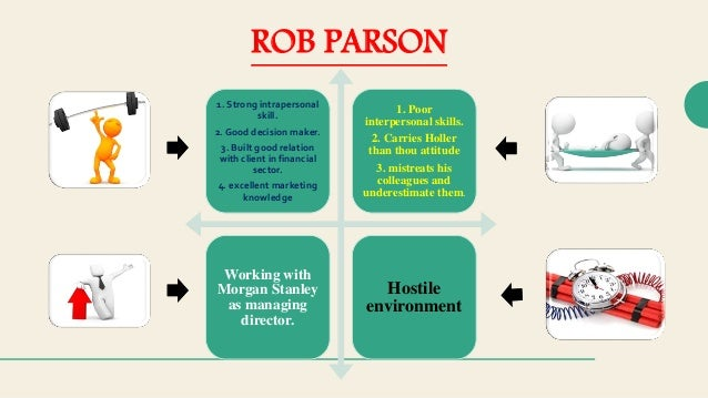 rob parson case study Read this full essay on rob parson management case study rob parson, from what we gather was a person who excelled at providing exceptional customer satisfaction, put in extraordinary effort and often came up with the most innovative financial products to match the needs of his client.