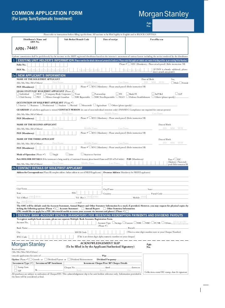 Morgan Stanley Mutual Fund Common Application Form With Kim