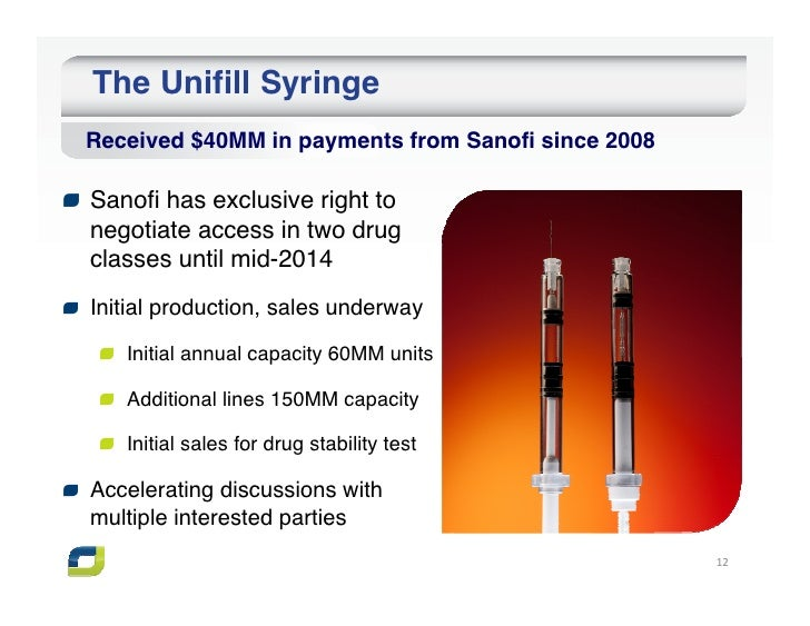 The Unifill SyringeReceived $40MM in payments from Sanofi since 2008Sanofi has exclusive right tonegotiate access in two d...
