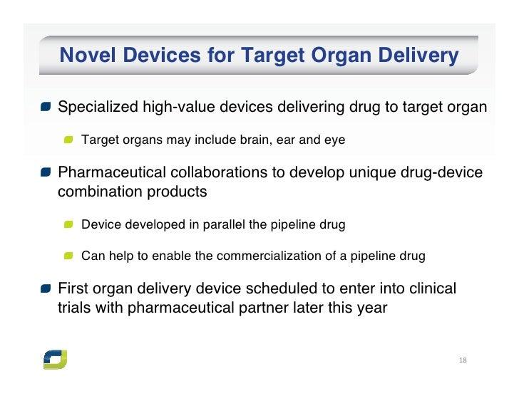 Novel Devices for Target Organ DeliverySpecialized high-value devices delivering drug to target organ   Target organs may ...
