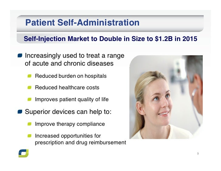 Patient Self-AdministrationSelf-Injection Market to Double in Size to $1.2B in 2015Increasingly used to treat a rangeof ac...