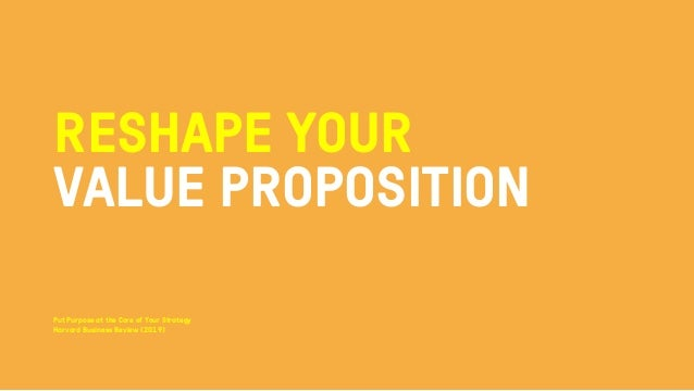 RESHAPE YOUR VALUE PROPOSITION Put Purpose at the Core of Your Strategy Harvard Business Review (2019)