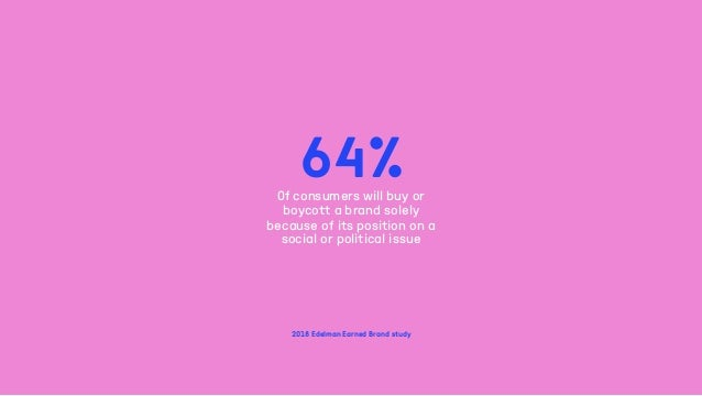 64%Of consumers will buy or boycott a brand solely because of its position on a social or political issue 2018 Edelman Ear...