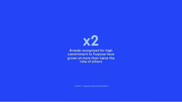 Kantar - Purpose–led Growth (2020) x2Brands recognized for high commitment to Purpose have grown at more than twice the ra...