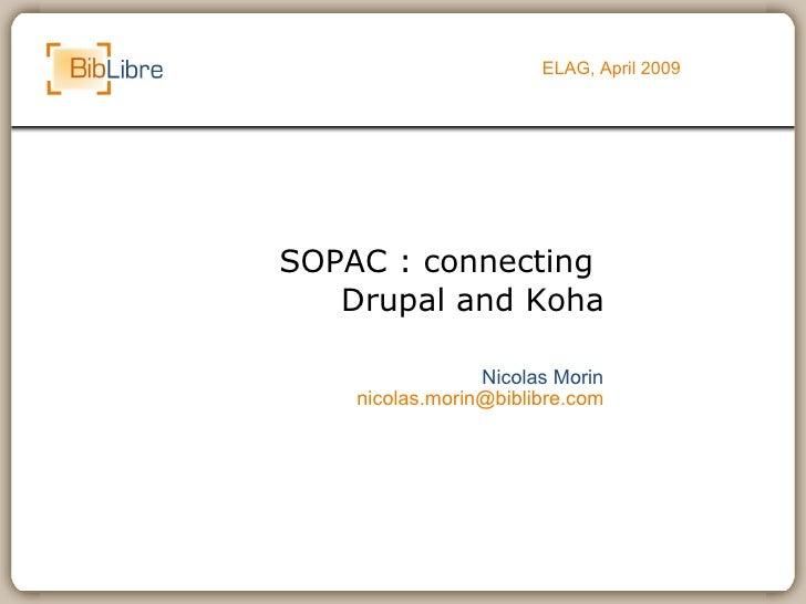 SOPAC : connecting  Drupal and Koha ELAG, April 2009 Nicolas Morin [email_address]