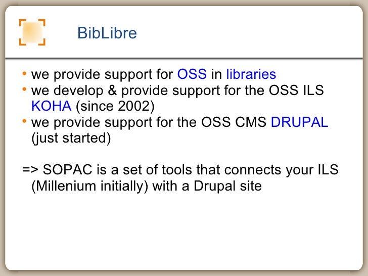 sopac : connecting koha and drupal Slide 2