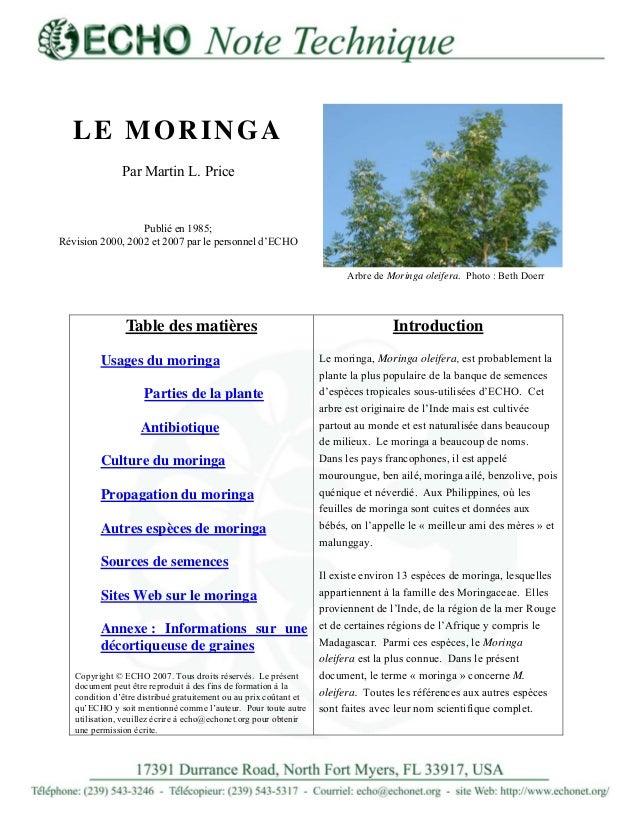 LE MORINGA Par Martin L. Price Publié en 1985; Révision 2000, 2002 et 2007 par le personnel d'ECHO Arbre de Moringa oleife...