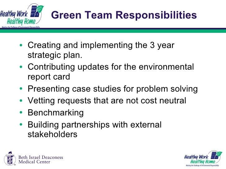 Green Team Responsibilities <ul><li>Creating and implementing the 3 year strategic plan. </li></ul><ul><li>Contributing up...