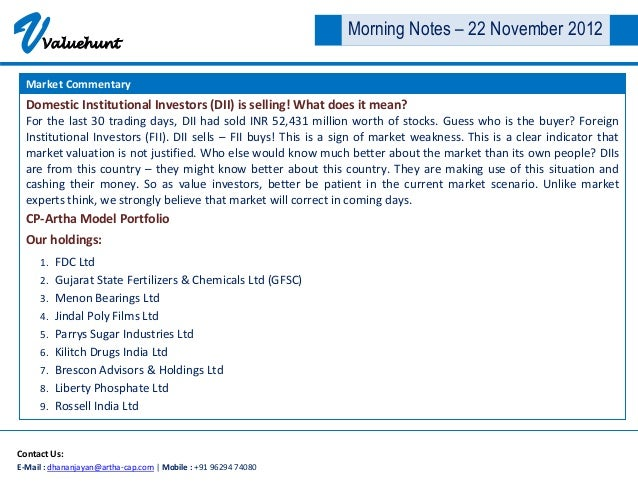 V     Valuehunt                                                                 Morning Notes – 22 November 2012  Market C...