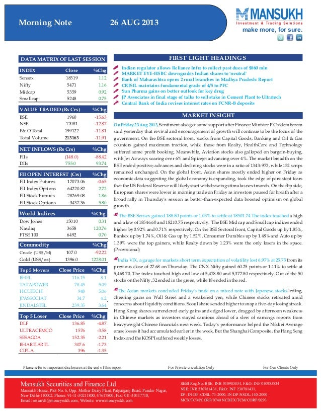 Equity Morning Note 26 August 2013-Mansukh Investment and Trading Solution