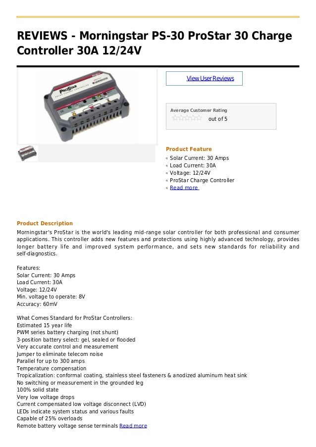 ProStar Charge Controller 12//24VDC 30A Morningstar PS-30