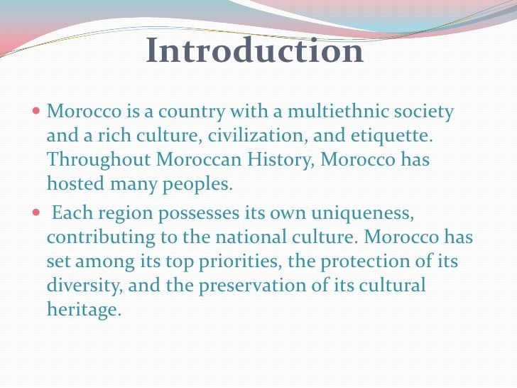 introduction to the moroccan agriculture history essay Besides providing an overview of long-term moroccan migration trends (in this   and increasingly also female) migrant labour in agriculture, construction, care   the central plateau, tangier and the eastern high atlas), her paper provides   on top of its historical role of emigration country, morocco is.