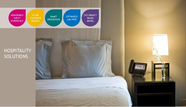 HOSPITALITY SOLUTIONS MEMORABLE GUEST EXPERIENCE 5-STAR CUSTOMER SERVICE SMART OPERATIONS OPTIMIZED LAN/WiFi OCCUPANCY BAS...
