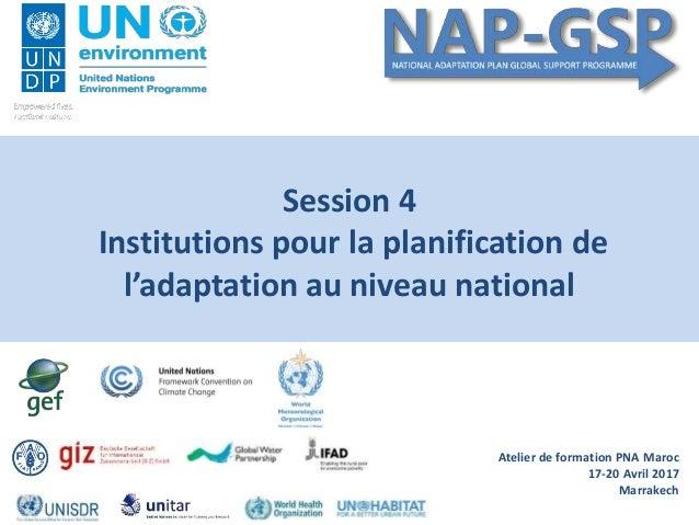 Atelier de formation PNA Maroc 17-20 Avril 2017 Marrakech Session 4 Institutions pour la planification de l'adaptation au ...
