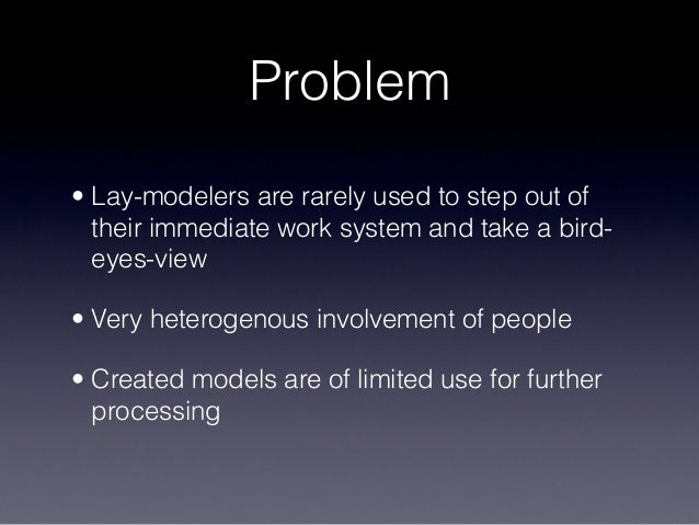 Problem • Lay-modelers are rarely used to step out of their immediate work system and take a bird- eyes-view • Very hetero...