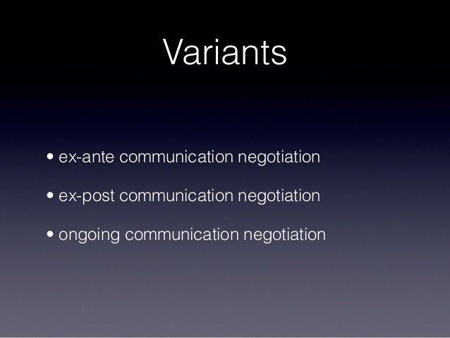 Variants • ex-ante communication negotiation • ex-post communication negotiation • ongoing communication negotiation