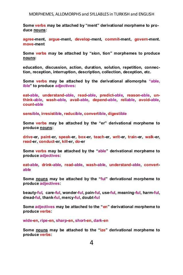 Morphemes Allomorphs And Syllables In English And Turkish