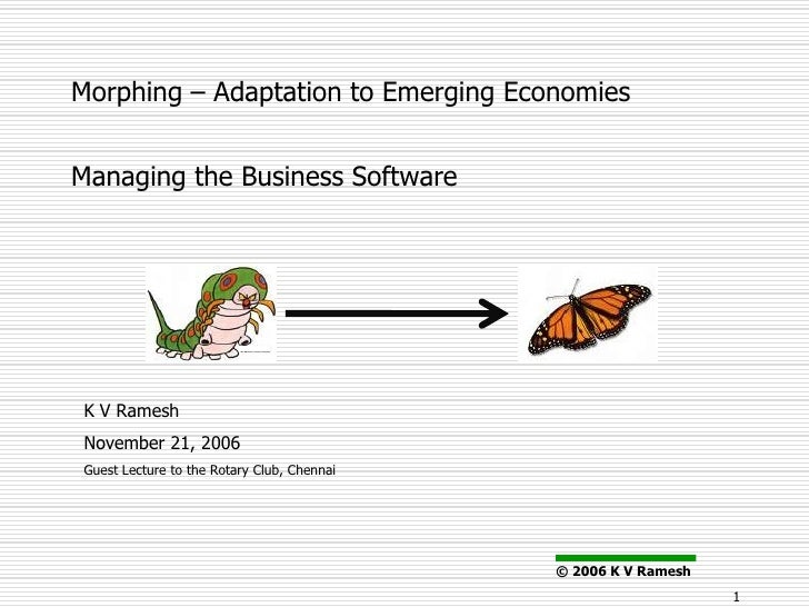 Morphing – Adaptation to Emerging Economies   Managing the Business Software     K V Ramesh November 21, 2006 Guest Lectur...