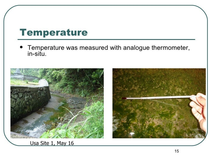 Temperature <ul><li>Temperature was measured with analogue thermometer, in-situ. </li></ul>Usa Site 1, May 16