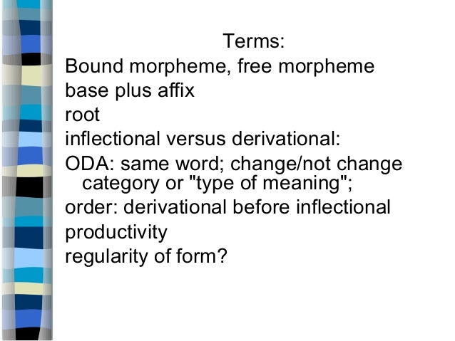 morphology affix and word How to describe an affix: some examples from derivational morphology:-ation is added to a verb or root (finalize, anim-) to give a noun (finalization, animation.