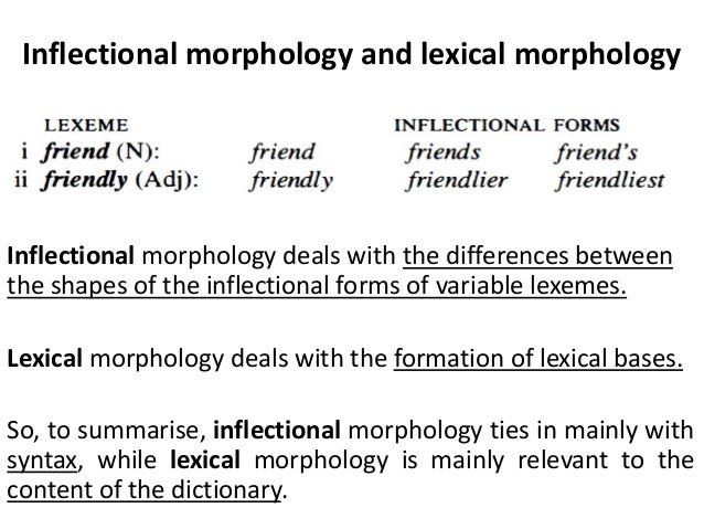 differentiating between lexical and inflectional morphology Between morphology and phonology in many situations the recent literature  each construction embodies both a meaning function, which could be inflectional, derivational, or even the identity function, as well as a form function  a descendant of lexical morphology and phonology (lmp kiparsky 1982).