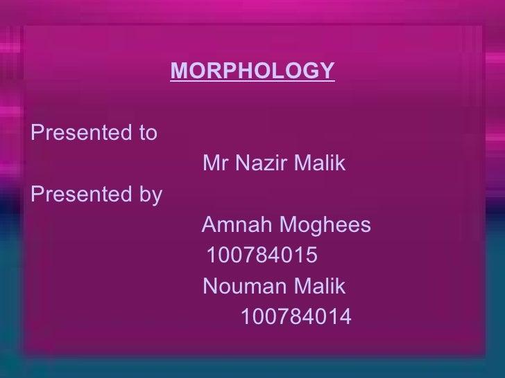 <ul><li>MORPHOLOGY </li></ul><ul><li>Presented to  </li></ul><ul><li>Mr Nazir Malik </li></ul><ul><li>Presented by </li></...