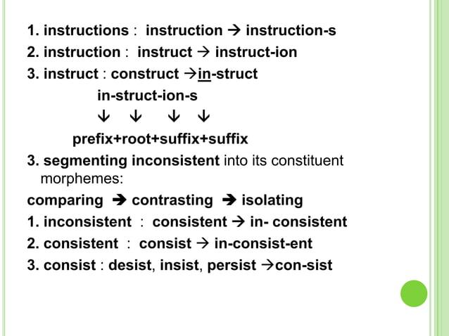 1. instructions : instruction  instruction-s2. instruction : instruct  instruct-ion3. instruct : construct in-struct   ...