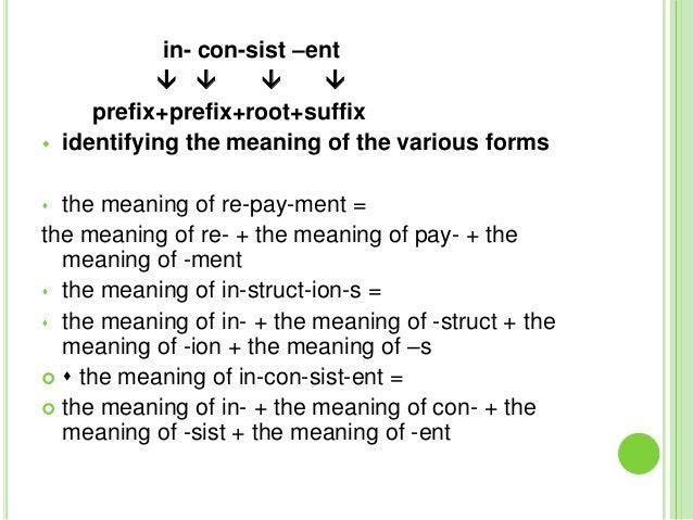 in- con-sist –ent                                  prefix+prefix+root+suffix   identifying the meaning of the various...