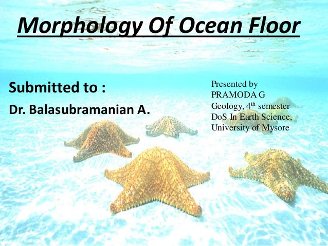 Morphology Of Ocean Floor Submitted To : Dr. Balasubramanian A. Presented  By PRAMODA G ...