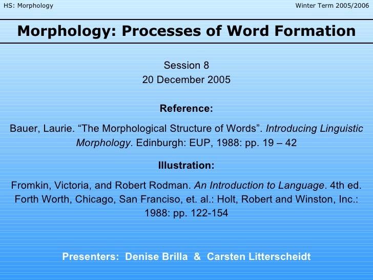 Morphology: Processes of Word Formation Presenters:  Denise Brilla  &  Carsten Litterscheidt Session 8 20 December 2005 Re...