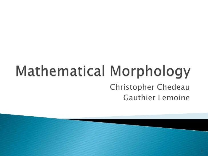 Mathematical Morphology<br />Christopher Chedeau<br />Gauthier Lemoine<br />1<br />