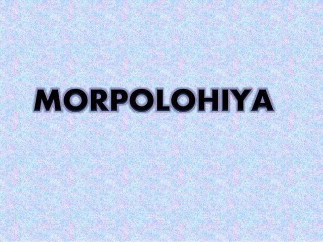  Ang morpolohiya ay ang pag-aaral ng mga morpema ng isang wika at ng pagsasama-sama ng mga ito upang makabuo ng salita. ...
