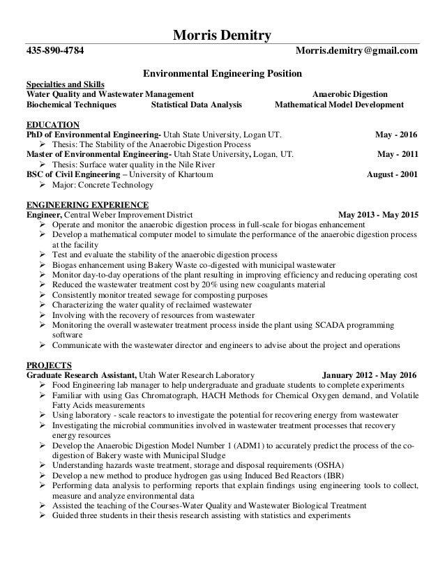 Fine Environmental Engineering Resume Utah Component ...