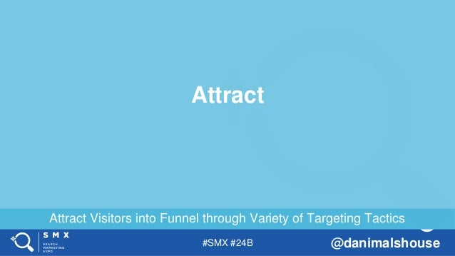 #SMX #24B @danimalshouse Attract Visitors into Funnel through Variety of Targeting Tactics Attract