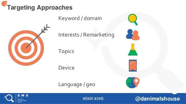 #SMX #24B @danimalshouse Keyword / domain Interests / Remarketing Topics Device Language / geo Targeting Approaches 2