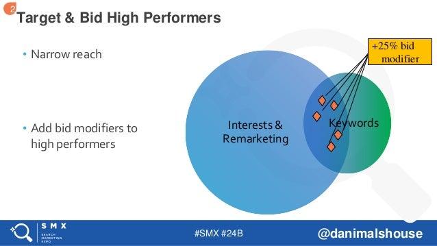 #SMX #24B @danimalshouse • Narrow reach • Add bid modifiers to high performers Target & Bid High Performers Interests & Re...