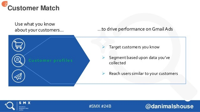#SMX #24B @danimalshouse Customer Match Use what you know about your customers... Customer profiles ...to drive performanc...