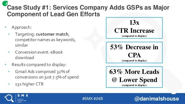 #SMX #24B @danimalshouse • Approach: • Targeting: customer match, competitor names as keywords, similar • Conversion event...