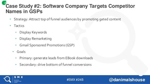 #SMX #24B @danimalshouse • Strategy: Attract top of funnel audiences by promoting gated content • Tactics • Display Keywor...