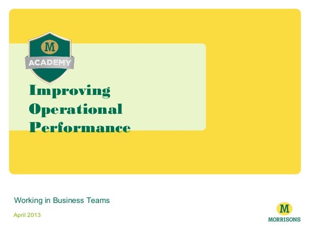 Working in Business Teams April 2013 Improving Operational Performance